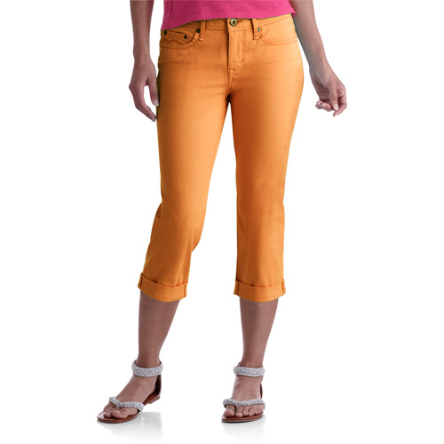 Faded Glory Women's Colored Cuffed Capri Jeans - Walmart.com