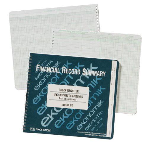 DD Wirebound Form Dd Check Register W 10 Left Distribution Columns, 8-3 4X10, Wirebound check register... by