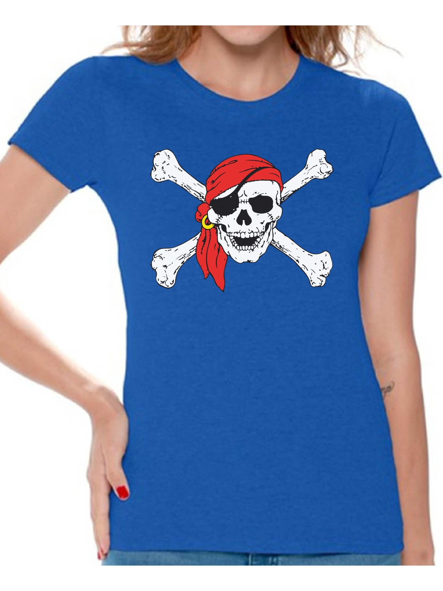 a49d8294 Awkward Styles - Awkward Styles Sugar Skull Shirts for Women Jolly Roger  Skull and Crossbones Women's Tee Shirt Tops Day of Dead Tshirts Pirate Flag  Shirts ...