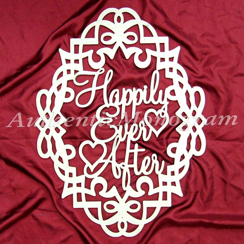aMonogram Art Unlimited Happily Ever After Filigree Frame Wooden Monogram Wall Decor