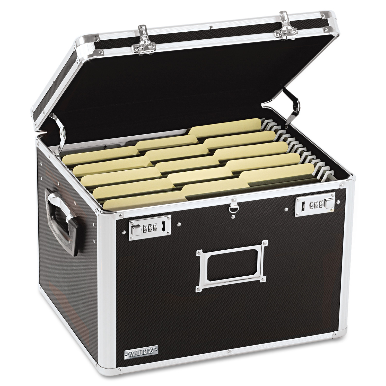 Vaultz Locking File Chest Storage Box, Letter/Legal, 17-1/2 x 14 x 12-1/2, Black