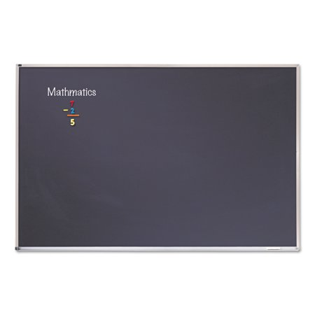 - Quartet Porcelain Black Chalkboard w/Aluminum Frame, 48 x 96, Silver -QRTPCA408B