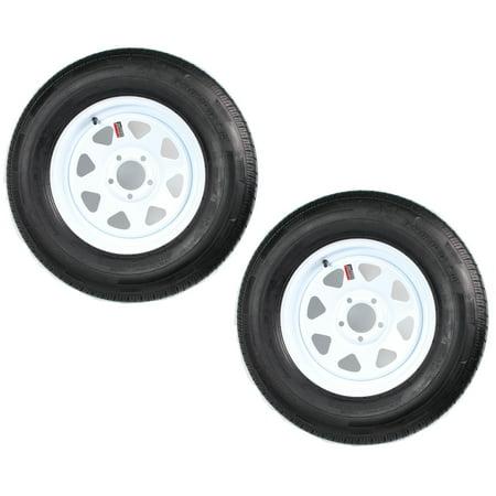- 2-Pack Trailer Tire On Rim ST205/75R15 LRC 5 Hole Steel White Spoke