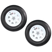 2-Pack Trailer Tire On Rim ST205/75R15 LRC 5 Hole Steel White Spoke