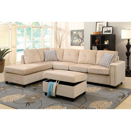 acme belville reversible sectional sofa with 2 pillows chocolate velvet. Black Bedroom Furniture Sets. Home Design Ideas