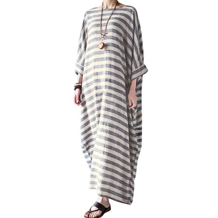 Women's Striped Half Sleeve Round Neck Maxi Dress Kaftan - Striped Maxi