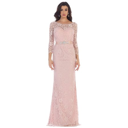 ELEGANT 3/4 SLEEVE LACE EVENING GOWN & PLUS SIZE