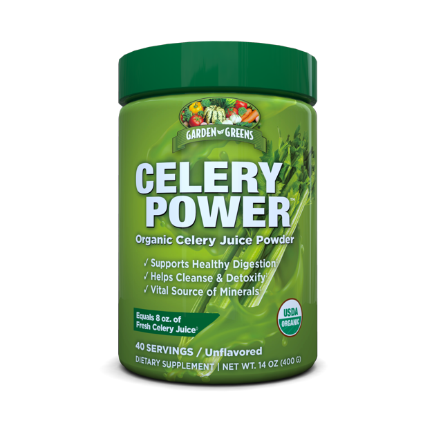 Garden Greens Celery Power Organic Celery Juice Powder, Unflavored, USDA Organic, Supports Healthy Digestion, 14 Oz. (40 Servings)