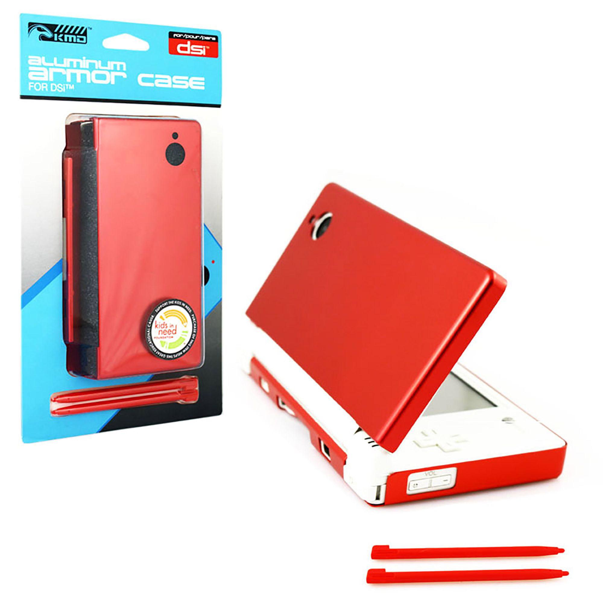 KMD Aluminum Armor Case & Dual Stylus Set For Nintendo DSi, Fire Red