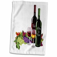 3dRose Fine Wine bottles, elegant wine glasses and lovely grapes, white background - Towel, 15 by 22-inch