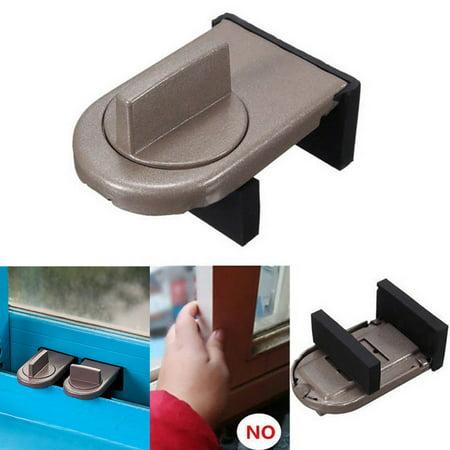 Brown Lock (Restrictor Door Safe Sliding Window Safety Catch Kids Child Security Sash Lock NEW)