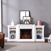 """Grand Heights Faux Stone Electric Fireplace, For TV's up to 36"""", White"""