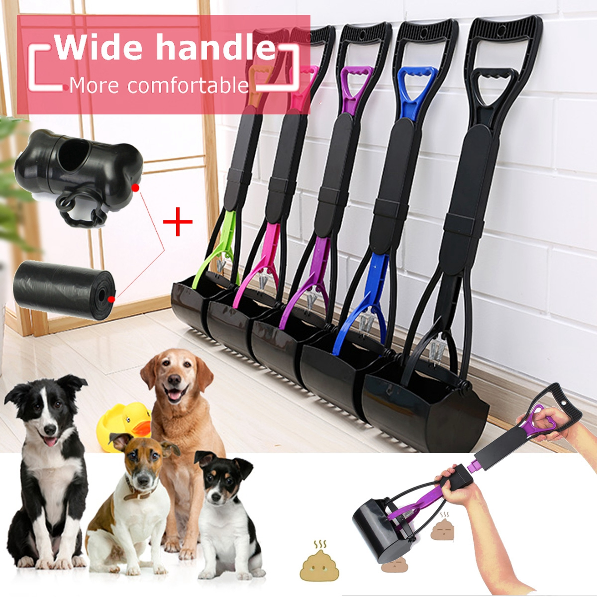 Pet Cat Dog Pooper Scooper Plastic Jaw Pets Poop Scoop Pick Up Easy Clean Waste Shovel Long Handle + Plastic Bag
