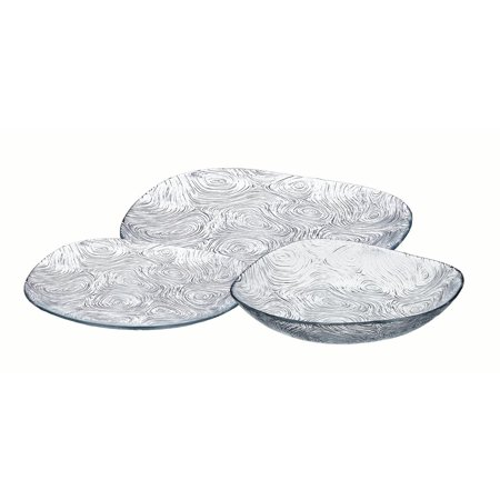 Safdie & Co. 18-Piece Linden Dinnerware Set, Glass, Swirl