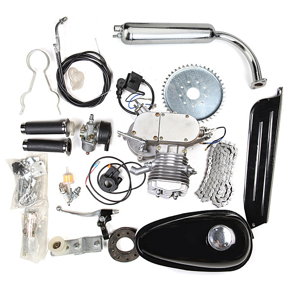 80cc 2-stroke Cycle Silver Motor Muffler Motorized Bicycl...
