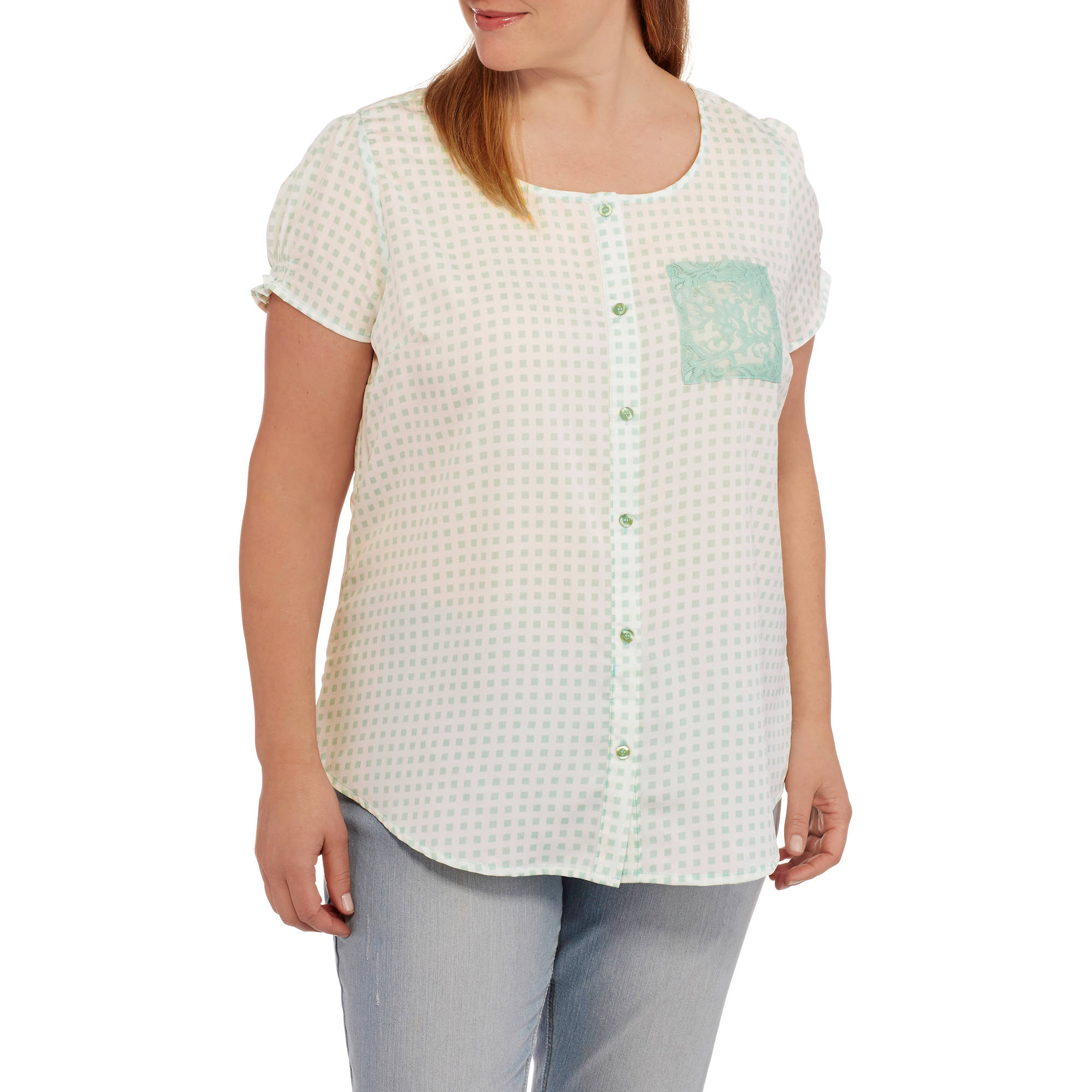 Millennium Women's Plus Checkered Button Front Top with Lace Pocket