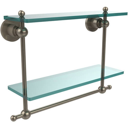 """Astor Place Collection 16"""" 2-Tiered Glass Shelf with Integrated Towel Bar (Build to Order)"""