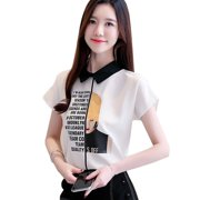 Blouse Women Tops Peter Pan Collar Short Sleeve Letter Print Pullover Chiffon Blouse Korean Style Elegant Office Lady