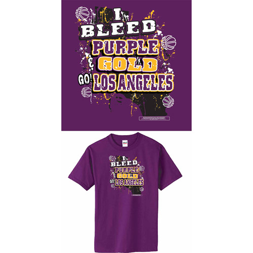 "Los Angeles Basketball ""I Bleed Purple and Gold, Go Los Angeles"" T-Shirt, Purple"