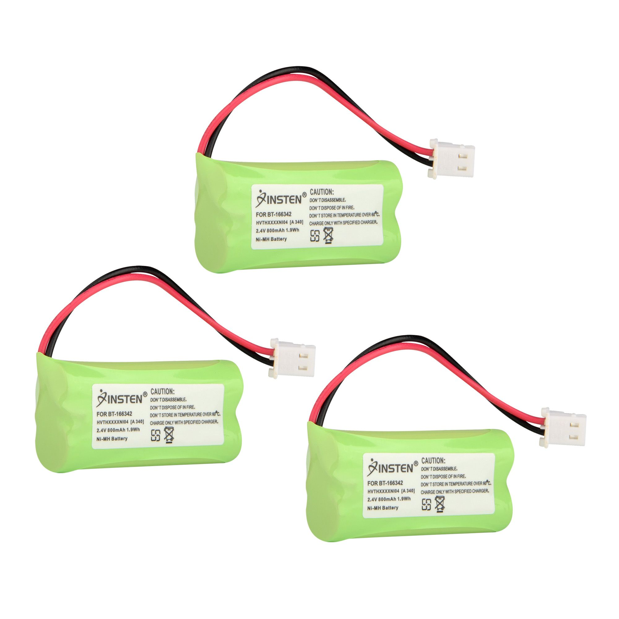 Insten (3 Pack) Extra Ni-Mh Cordless Phone Battery Power For Vtech BT-166342 6001 6501 6522 6609 6641 6648 6649 (3-Pack Bundle)