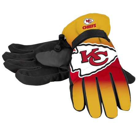 Forever Collectibles - NFL Gradient Big Logo Insulated Gloves-Small/Medium, Kansas City Chiefs