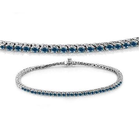 Dazzlingrock Collection 1.50 Carat (ctw) 14K Round Cut Real Blue Diamond Ladies Tennis Bracelet 1 1/2 CT, White Gold