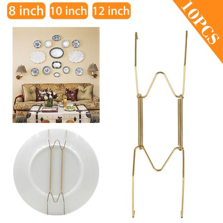 10 Pack 12/10/8Inch Plate Hangers for the Wall Plate Decorative Dish Display Tray Holder for Home Decoration