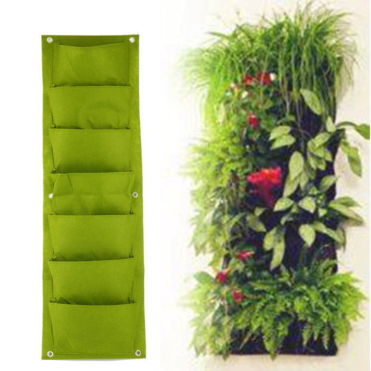 Green Vertical Garden Planter Wall-mounted Planting Flower Grow Bag 7 Pocket