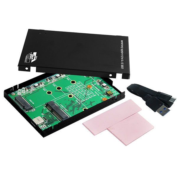 USB 3.1 C type to M.2 and mSATA 2.5 Inch SSD Enclosure - Simultaneous