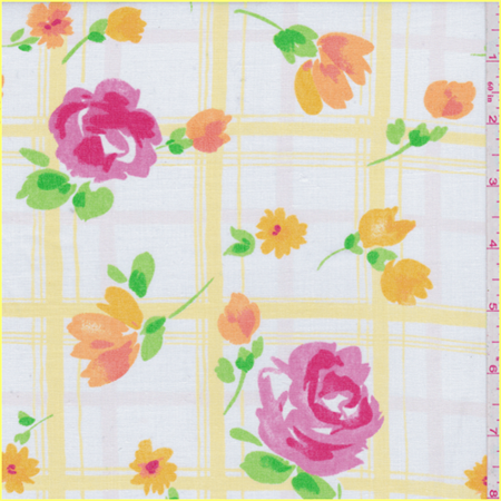 White/Yellow Floral Check Linen Look, Fabric By the Yard