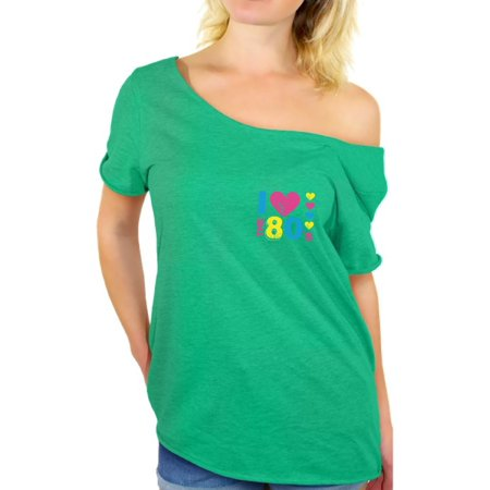 Awkward Styles I Love the 80s Off Shoulder T Shirt 80s Pocket Baggy Shirts 80s Costumes for 80s Party Womens 80's Outfit 80's Accessories Love the 80s Women's Tops Retro Vintage Pocket Tee Shirt - Outfits From The 80's