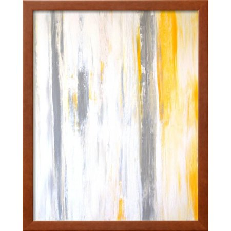 Grey and Yellow Abstract Art Painting Framed Print Wall Art By ...