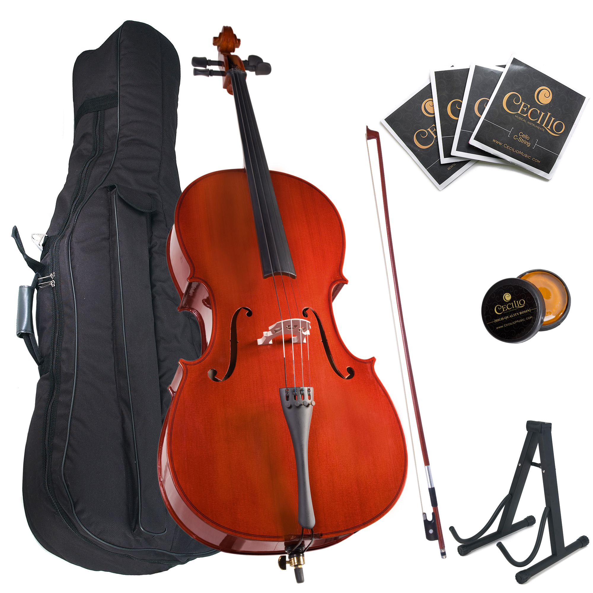 Cecilio Full Size 4/4 CCO-100 Student Cello Pack w/1 Year Warranty, Stand, Extra