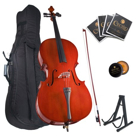 Cecilio Full Size 4 4 Cco 100 Student Cello Pack W 1 Year Warranty  Stand  Extra Set Strings  Bow  Rosin  Bridge   Soft Case