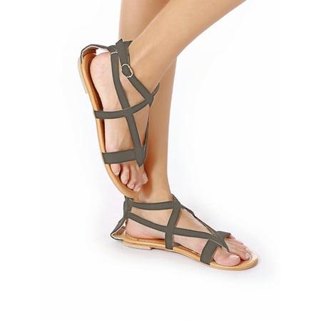 Roman Sandals (NK FASHION Women Summer Shoes Sandals Casual Buckle Strappy Beach Roman Sandals Flat)