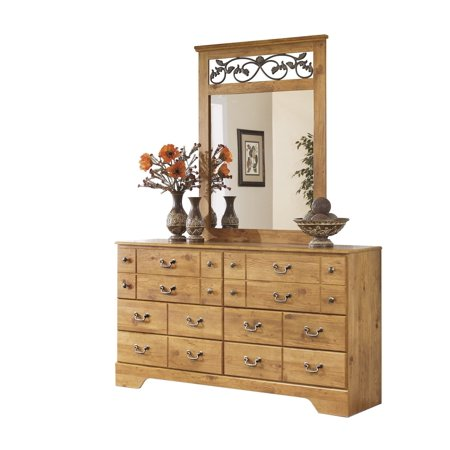 Ashley Furniture Bittersweet Six Drawer Dresser And Mirror Light Brown