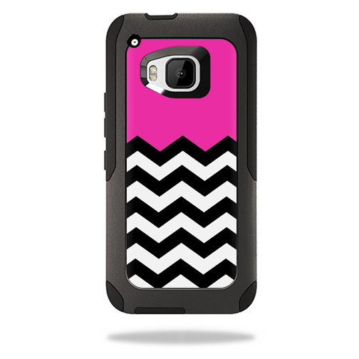 MightySkins Protective Vinyl Skin Decal for Otterbox Commuter HTC One M9 Case wrap cover sticker skins Hot Pink Chevron