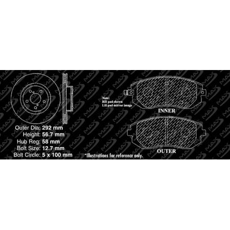 Max Brakes Front Performance Brake Kit [ Premium Slotted Drilled Rotors + Metallic Pads ] TA036831 | Fits: 2003 03 Fit Subaru Legacy GT Model - image 7 de 8