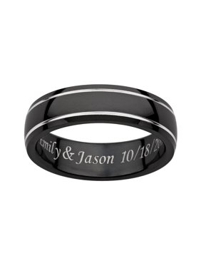 Personalized Men's Engraved Black Titanium Grooved Band