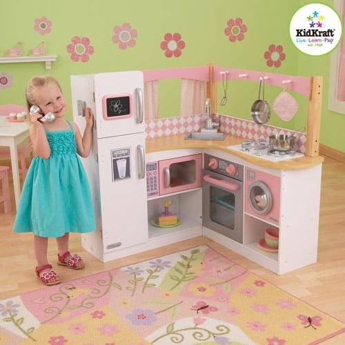 KidKraft Grand Gourmet Corner Wooden Kitchen Play Set with 4 Piece Accessories