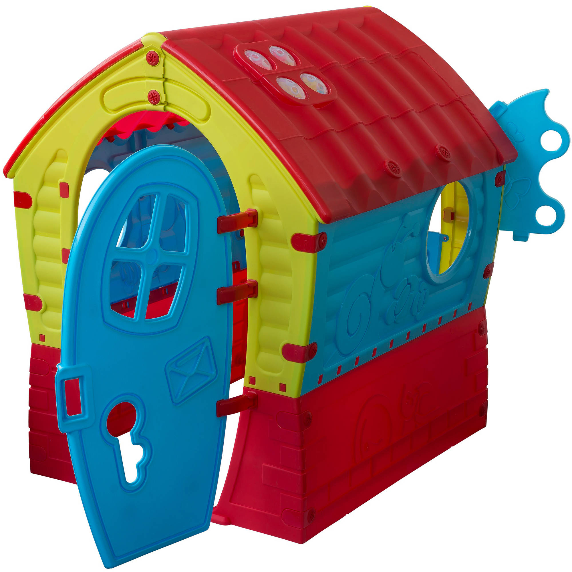 Pal Play Children's Dream House Indoor/Outdoor Playhouse, Red/Blue/Green