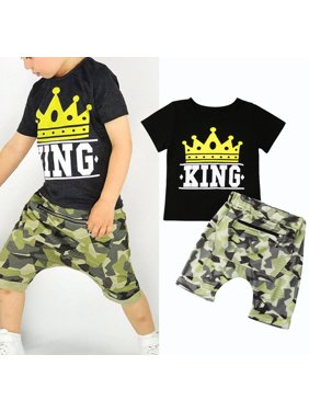 d9c0f703a566 Product Image Summer Toddler Kids Baby Boy Tops T-shirt Camo Pants 2Pc  Outfits Set Clothes 1