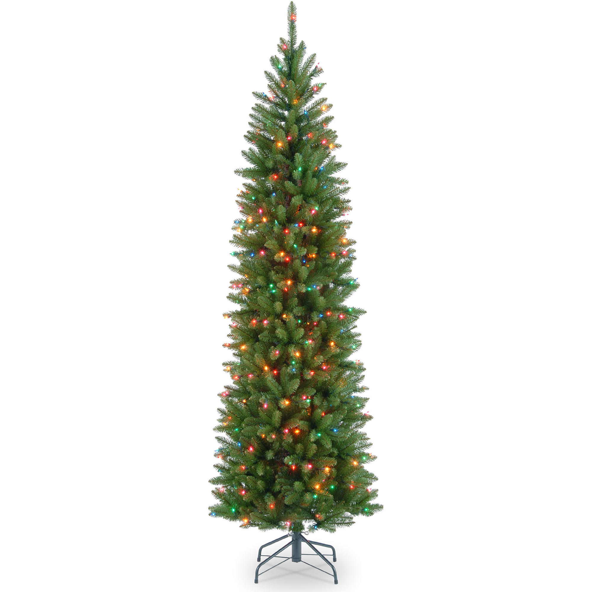 National Tree Pre-Lit 6-1/2' Kingswood Fir Hinged Pencil Artificial Christmas Tree with 250 Multi Lights