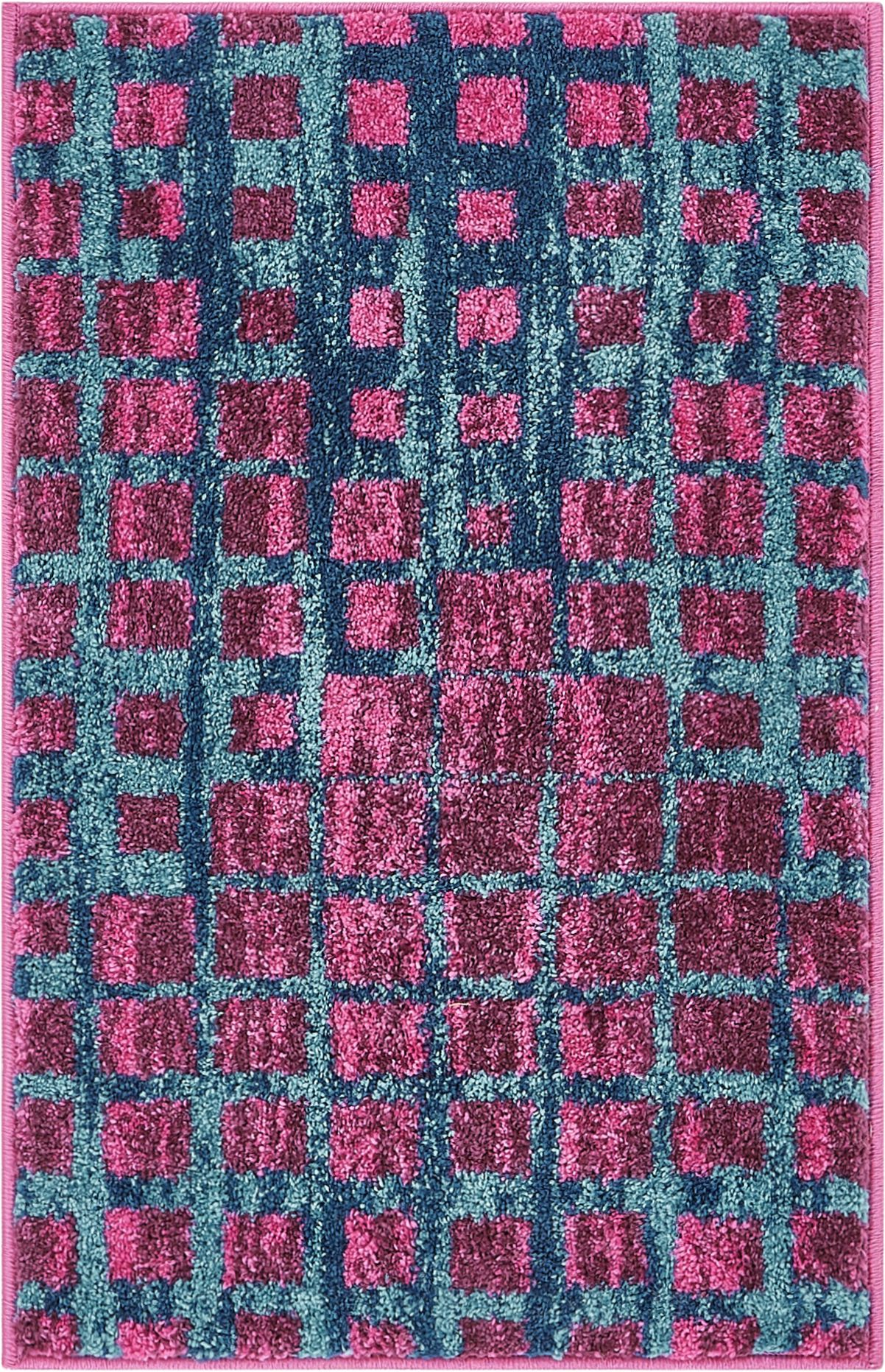 Well Woven Casablanca Geometric Ombre Squares Boxes Purple Blue Vibrant Modern Area Rug 20x31 20 X 31 Mat Abstract Lines Squares Contemporary Thick Soft Plush Walmart Com Walmart Com