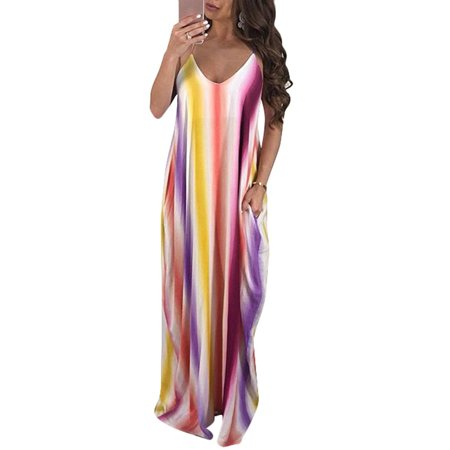 - Women Summer Beach Sleeveless Dress Summer Beach Sun Dress V-neck Cover-up Blouse Dress Loose Sling Gradient Beach Long Maxi Dresses for Women