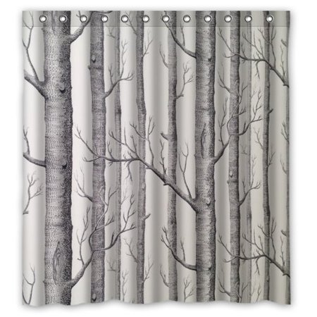 MOHome Black And White The Birch Tree Patterns Shower Curtain Waterproof Polyester Fabric Size