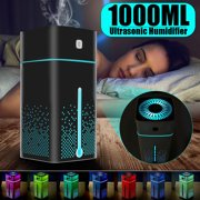 1000ml Ultrasonic Mist Air Humidifier & Facial Humidifier Aroma Essential  Oil Diffuser Purifier Atomizer 7 Color LED Lights W/ USB Cable & Adapter For Home Bedroom Baby Room