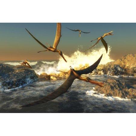 A Flock of Anhanguera Pterosaurs Catch Fish Off a Rocky Coast Print Wall Art By Stocktrek