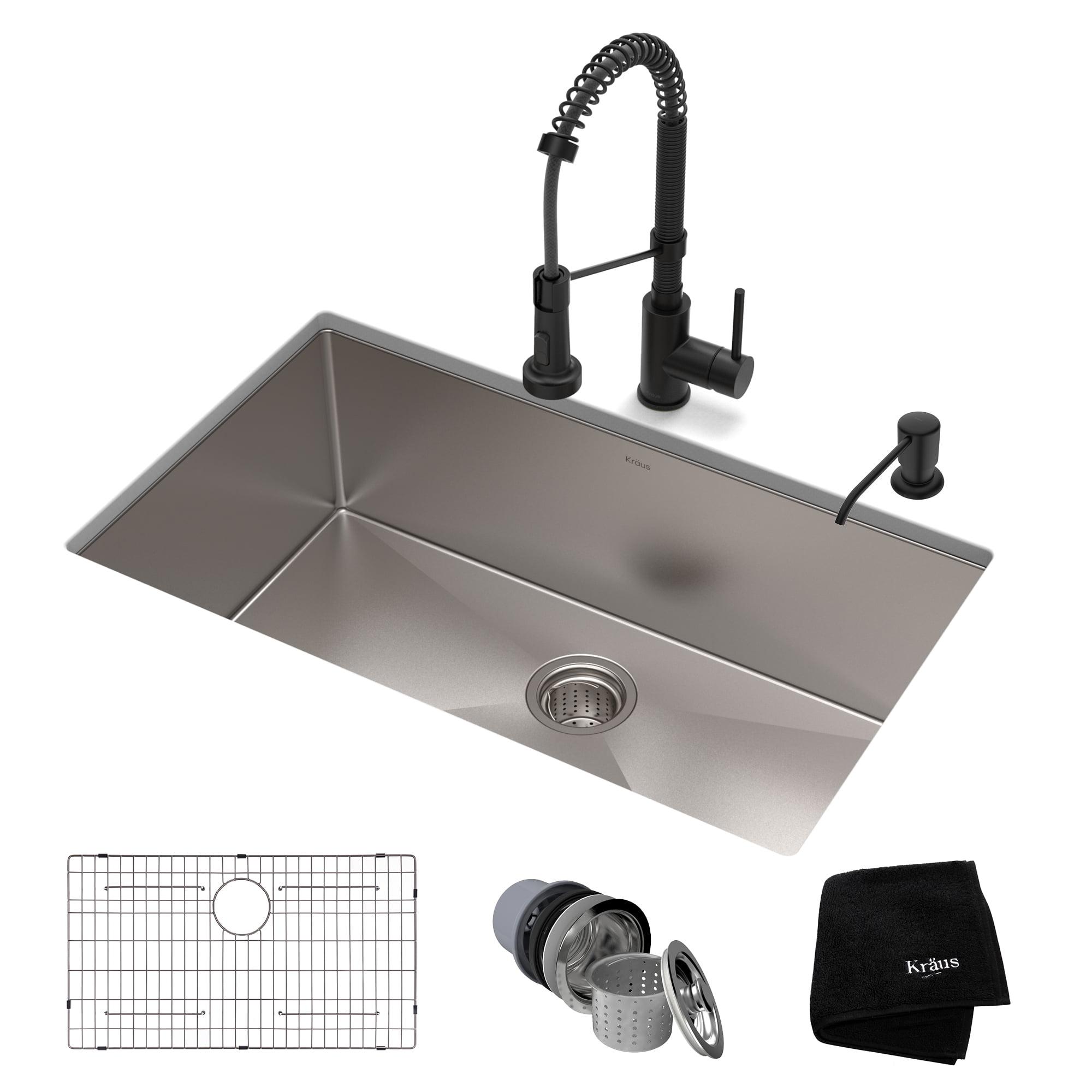 Kraus 32 Inch 16 Gauge Standart Pro Kitchen Sink Combo Set With Matte Black Bolden 18 Inch Kitchen Faucet And Soap Dispenser Walmart Com Walmart Com