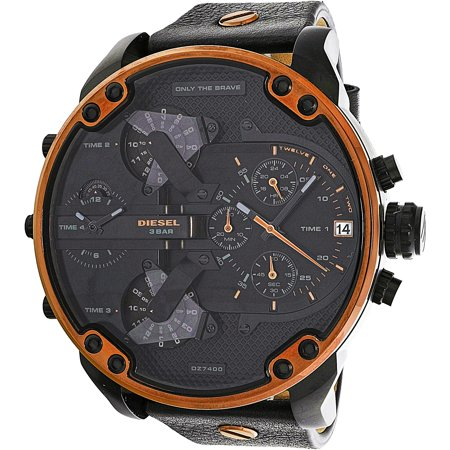 - Men's Mr. Daddy 2.0 DZ7400 Black Leather Quartz Fashion Watch